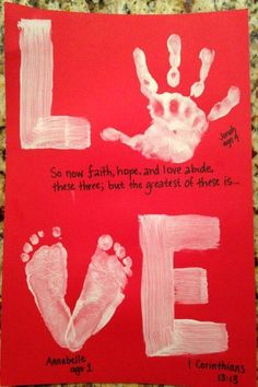 LOVE: Hand & Foot Print on wood. Perfect parent/grandparent gift for Valentines .LOVE: Hand & Foot Print on wood. Perfect parent/grandparent gift for Valentines Day or any day.Easy and Fun Valentines Cards for Kids to Toddler Valentine Crafts, Kinder Valentines, Baby Crafts, Toddler Crafts, Valentine Ideas, Valentine Cards, Valentine For Dad, Valentines Ideas For Babies, Valentines Day Crafts For Preschoolers