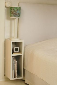 Home bedroom small bedside tables 34 Ideas for 2019 Small Nightstand, Floating Nightstand, Nightstand Ideas, Small Bedside Tables, Nightstands, Bedside Shelf, Skinny Bedside Table, Desk Ideas, Bedside Lamp