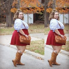 #ootd - I'm trying to take more pics of cute outfits that I don't put as full on posts on the blog. This is a good place to start! Skirt from @oldnavy and boots from @simplybeusa ❤️ #plussize #celebratemysize #honormycurves #fatgirlflow #psblogger #psfashion