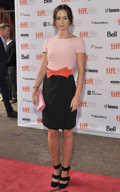 Colour block pink and black dress Emily Blunt Style Gallery