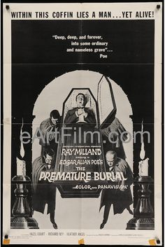 Happy Birthday #EdgarAllanPoe https://eartfilm.com/search?q=edgar+allan+poe #writers #writing #horror #macabre #detective #BlackCat #PrematureBurial #movie #movies #poster #posters #film #cinema #movieposter #movieposters    Premature Burial-1962-27x41-Edgar Allen Poe-Roger Corman-Ray Milland