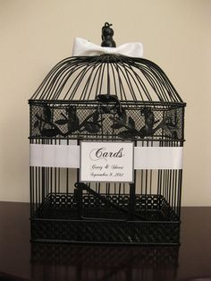 Black Bird Cage Wedding Card Box Holder With by SouthburyTreasures, $58.00
