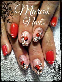 Ladybug nail art, Red nail