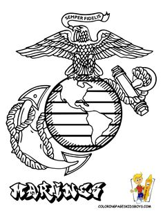armed forces emblem coloring pages of marine corp emblem at coloring