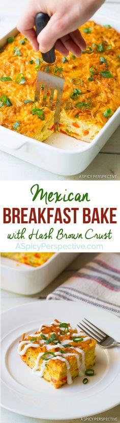 Fluffy Mexican Breakfast Casserole with Crispy Hash Brown Top! #breakfast #casserole