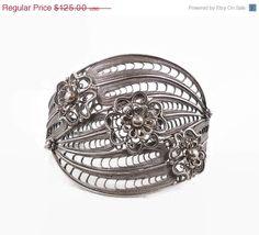 ON SALE Filagree Sterling Silver Cuff Bracelet - Vintage Turkey DGS - InVintageHeaven