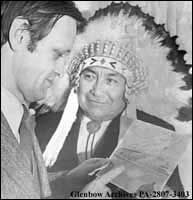 Image No: PA-2807-3403  Title: Indian Affairs Minister Jean Cretien with Chief Jim Shot Both Sides of Cardston, Alberta.  Date: December 16, 1970  Remarks: Jim Shot Both Sides was elected chief of the Blood tribe in 1956 in the tribe's first democratically-run elections.