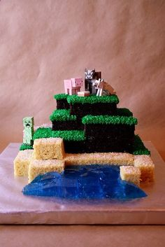 Minecraft Cake. Would be PERFECT for Zacks birthday! To bad its already 3 months past it...guess Ill just have to whip one up as a half birthday surprise lol