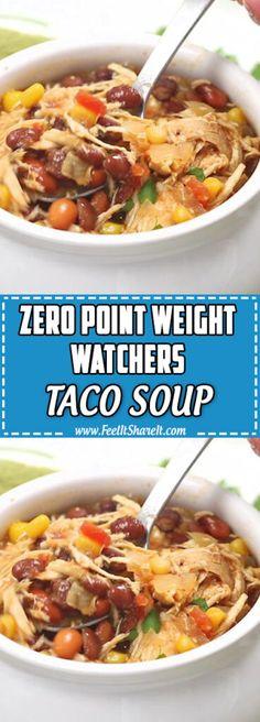 Ww Taco Soup Recipe, Crockpot Chicken Taco Soup, Healthy Chicken Tortilla Soup, Easy Taco Soup, Crock Pot Tacos, Soup Recipes, Healthy Recipes, Ww Recipes, Crockpot Recipes