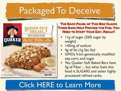 """Quaker says these bars """"fuel"""" you up for your day. Translation? Fuel equals sugar and other highly processed, refined carbs."""
