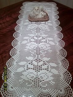 This Pin was discovered by Ter Crochet Doily Patterns, Crochet Diagram, Thread Crochet, Knitting Patterns, Crochet Dollies, Crochet Lace, Free Crochet, Crochet Table Runner Pattern, Crochet Tablecloth