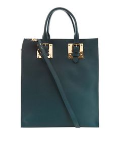 Sophie Hulme Teal Blue Structured Buckle Leather Tote Bag