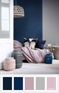 Pink and blue bedroom navy blue mauve and grey color palette color inspiration pink blue white bedroom Navy Bedrooms, Small Bedrooms, Master Bedrooms, Purple Master Bedroom, Master Bedroom Color Ideas, Living Room Color Schemes, Grey Living Room Ideas Colour Palettes, Gray Color Schemes, Apartment Color Schemes