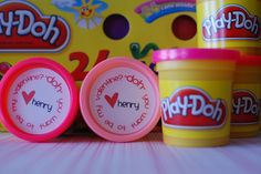 Great idea for kid's Valentines. Buy a 24-pack of Play-Doh and add the cute top (free printable labels available!)  Nice instead of more candy too :)