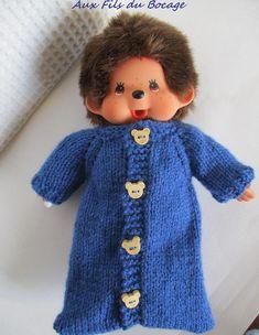 Vêtement, couchage peluche Kiki de 20 cm. Mochi, Monster High, Monkey, Sewing, Toys, Crochet, Sweaters, Fashion, Weaving