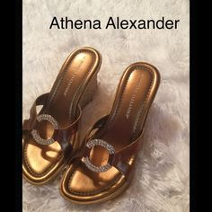 Athena Alexander sandal Athena Alexander wedgie sandal, perfect condition, having cork wedge and bling trim, very cute Athena Alexander Shoes Sandals