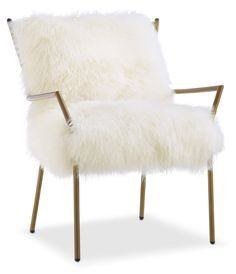 Ga-Ga-Gorgeous. The fabulous Lara accent chair offers a bountiful seat of natural, white sheepskin that brings a beautiful, soft texture to any room. Adding a stylish, luxurious look, this chair features a trendy, gold-finished iron frame that assures support and durability, while high-density foam fill provides maximum comfort. Gorgeous in every way, this exuberant chair with plenty of character speaks volumes.