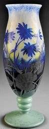 Daum Nancy Glass; Cameo, Vase, Blue Flowers, Green Base, 16 inch., [www.prices4antiques.com item #E8948343]