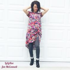 LuLaRoe Carly dress with skinny jeans and booties