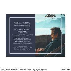 57 best funeral invitations announcements images on pinterest navy blue minimal celebrating life custom photo invitation stopboris Choice Image
