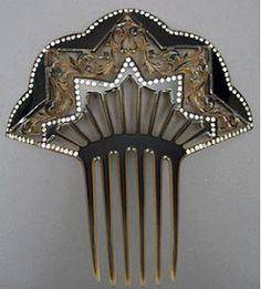 Black & Clear Celluloid Edwardian Comb with rhinestones