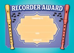 "RECORDER CERTIFICATES Pkg/30 - 8.5"" x 5.5"" Award Certificates, Teaching Music, Music Awards, Flute, Presents, Flutes, Gifts, Gifs, Award Display"