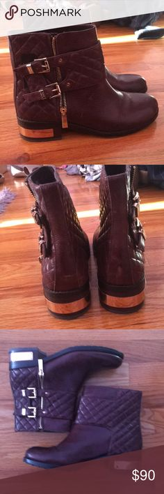 Vince camuto boots Worn once and in great condition dark red/brown color Vince Camuto Shoes Ankle Boots & Booties