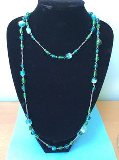 Turquoise Necklace, Beaded Necklace, Necklaces, Rose Quartz, Jasper, Beads, Crystals, Green, Blue