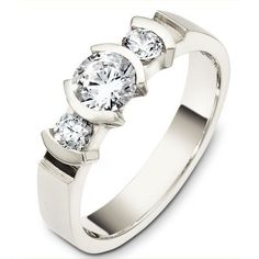 Three-stone diamond anniversary ring #diamondanniversaryring