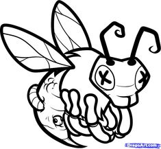 how to draw a zombie bee zombie bees step 8