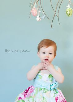 hanging branch and pastel colors for easter mini shoot