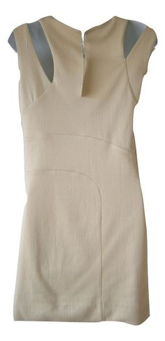 Beige classic designer dress two straps dress