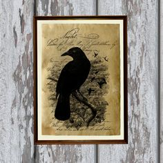 Crow art print on vintage looking handmade old paper. Beautiful antiqued decoration.  Very nice 8.3 x 11.7 (A4) old looking decoration for your home and