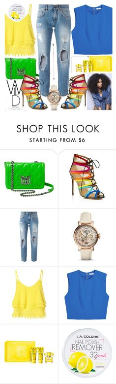 """#44"" by fashion-pol ❤ liked on Polyvore featuring Love Moschino, Salvatore Ferragamo, Dolce&Gabbana, FOSSIL, Glamorous, Alice + Olivia and Versace"