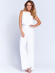 White Sam Faiers Jumpsuit - simple , conservative and elegant . Perfect for a wedding.