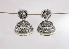Antique Silver big jhumka earrings,indian jhumka,victorian jhumka earrings,drop jhumkas,bollywood  jhumkas,tribal bohemian jhumka earrings