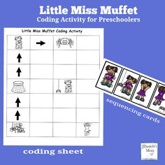 This is one a series of children's book and rhyme coding activities. Kids can use a grid printable to connect the events in the rhyme Little Miss Muffet. Sequencing Worksheets, Sequencing Cards, Counting Worksheet, Teaching Kids, Kids Learning, Kindergarten Activities, Steam Activities, Nursery Ryhmes, Computer Coding