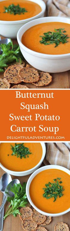 A simple, easy recipe for slow cooker vegan butternut squash sweet potato carrot soup. Perfect to have during fall or on a cold winter's day. via @delighfuladv
