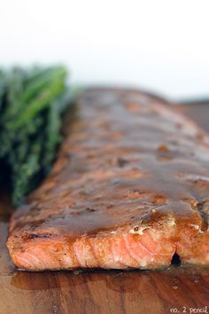 Easy Grilled Salmon :: marinade and sauce, plus directions for oven-baking :: olive oil, mustard, soy sauce, garlic.