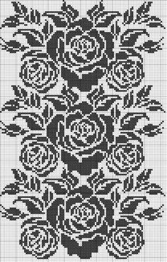 Copy paste and print! Cross Stitch Borders, Cross Stitch Rose, Cross Stitch Flowers, Cross Stitch Charts, Cross Stitching, Cross Stitch Embroidery, Cross Stitch Patterns, Crochet Curtains, Crochet Tablecloth