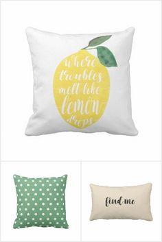 Lemon throw pillow, green throw pillow, green and white polka dot cushion, beige quote sofa cushion