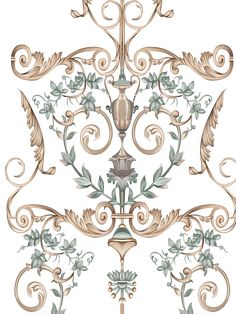 Baroque Pattern, Pattern Art, Baroque Design, Wall Painting Decor, Silk Painting, Bunch Of Flowers Drawing, Paisley Art, Floral Pattern Vector, Leaf Drawing