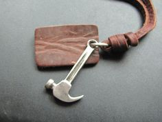 Brown leather hammer pendant Adiustable   Necklace by sevenvsxiao, $9.00
