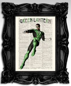 "Green Lantern - Original justice league super hero movie art print 8""x11""- antique dictionary page - Vintage marvel art print poster. on Etsy, $10.00"
