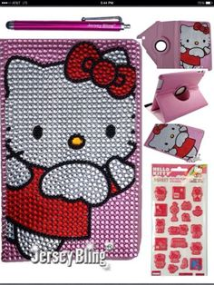 """BLING Kitty Crystal Case For Samsung Galaxy Tablet 2 7"""" P3100 leather Case Cover"""