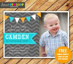 Chevron Boy 1st Birthday Photo Invitation - Printable - Gray, Aqua and Orange- Free Thank You Card and Pennant Banner - Find us on Facebook! https://www.facebook.com/pages/Sweet-Gumdrop-Creations/157015321151666