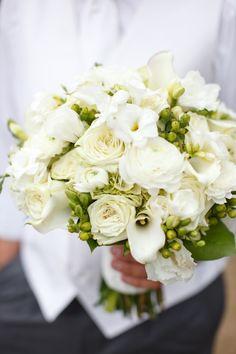 Classic white bridal bouquet.
