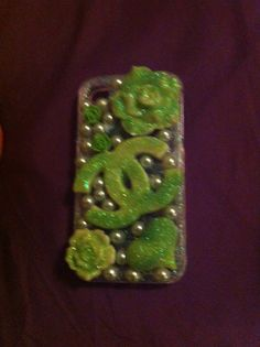 Lime Green Glitter and Pearl Chanel iPhone 4/4 s by DazzlingCases, $19.99