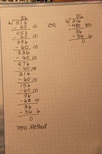 "An awesome technique: Division- ""In place of the traditional method for division, Marilyn Burns shows how to teach students with the ladder method. Students divide a dividend with multiples of ten rather than break the dividend apart. Teacher Blogs, Math Teacher, Math Classroom, Maths, Classroom Ideas, Teacher Stuff, Teaching Multiplication, Math Strategies, Math Resources"