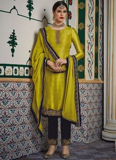 Buy Yellow Green Embroidered Work Micro Velvet Silk Straight Cut Suit Online